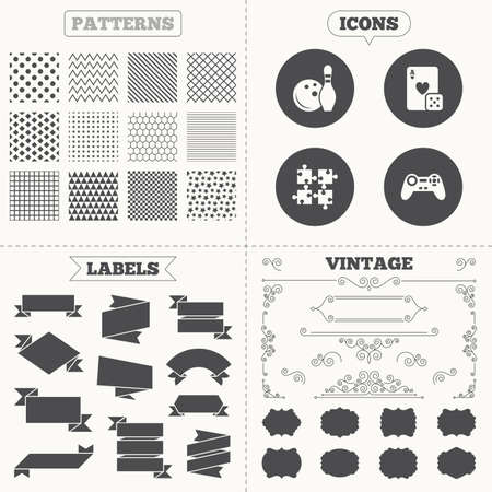 playing video game: Seamless patterns. Sale tags labels. Bowling and Casino icons. Video game joystick and playing card with puzzles pieces symbols. Entertainment signs. Vintage decoration. Vector Illustration