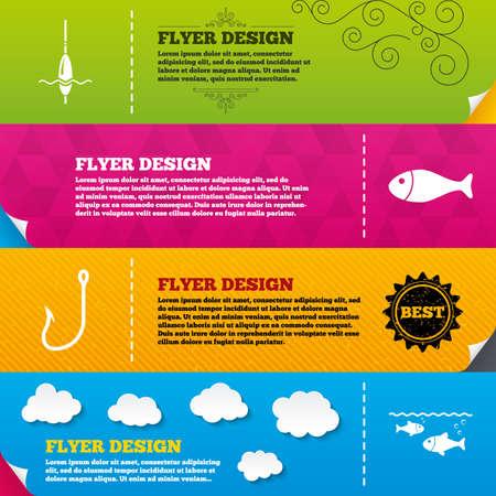 bobber: Flyer brochure designs. Fishing icons. Fish with fishermen hook sign. Float bobber symbol. Frame design templates. Vector