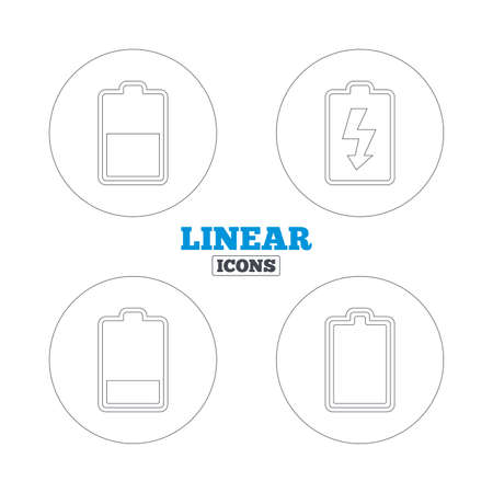 stored: Battery charging icons. Electricity signs symbols. Charge levels: full, half and low. Linear outline web icons. Vector