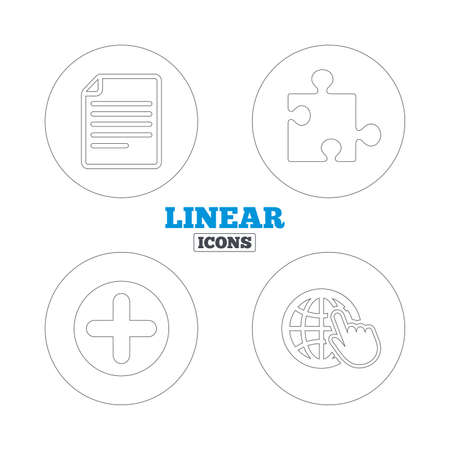 puzzle globe: Plus add circle and puzzle piece icons. Document file and globe with hand pointer sign symbols. Linear outline web icons. Vector