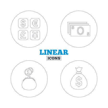 currency converter: Currency exchange icon. Cash money bag and wallet with coins signs. Dollar, euro, pound, yen symbols. Linear outline web icons. Vector