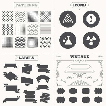 danger carbon dioxide  co2  labels: Seamless patterns. Sale tags labels. Attention and radiation icons. Chemistry flask sign. CO2 carbon dioxide symbol. Vintage decoration. Vector