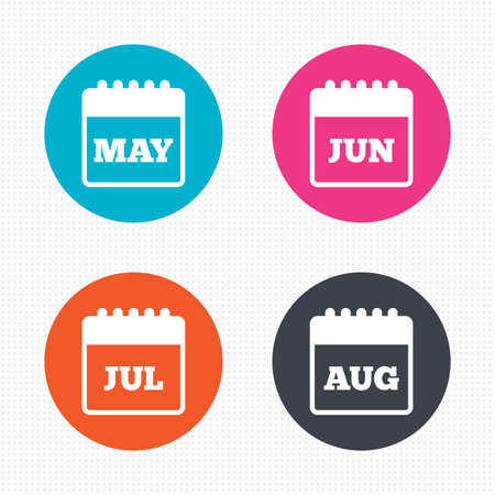 event: Circle buttons. Calendar icons. May, June, July and August month symbols. Date or event reminder sign. Seamless squares texture. Vector Illustration