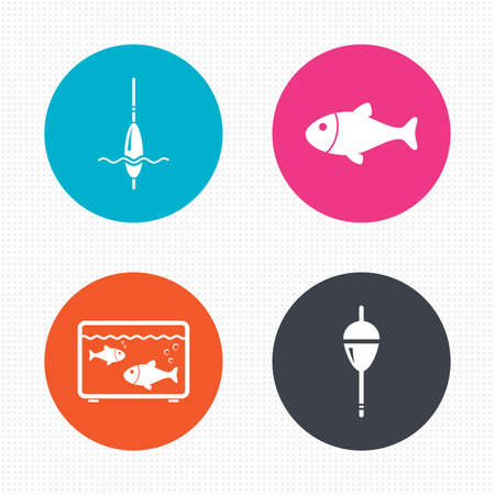 bobber: Circle buttons. Fishing icons. Fish with fishermen hook sign. Float bobber symbol. Aquarium icon. Seamless squares texture. Vector
