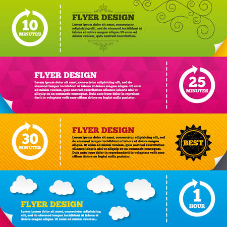 25 30: Flyer brochure designs. Every 10, 25, 30 minutes and 1 hour icons. Full rotation arrow symbols. Iterative process signs. Frame design templates. Vector Illustration