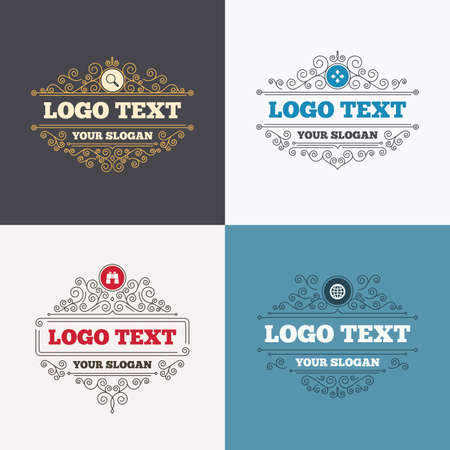 fullscreen: Flourishes calligraphic emblems. Magnifier glass and globe search icons. Fullscreen arrows and binocular search sign symbols. Luxury ornament lines. Vector
