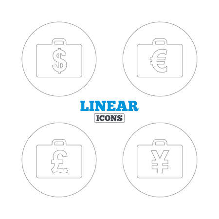 diplomat: Businessman case icons. Cash money diplomat signs. Dollar, euro and pound symbols. Linear outline web icons. Vector