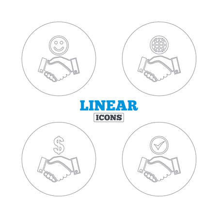 amicable: Handshake icons. World, Smile happy face and house building symbol. Dollar cash money. Amicable agreement. Linear outline web icons. Vector