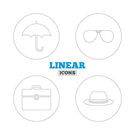 business case: Clothing accessories icons. Umbrella and sunglasses signs. Headdress hat with business case symbols. Linear outline web icons. Vector Illustration