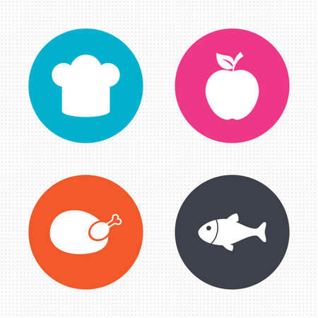 Circle buttons. Food icons. Apple fruit with leaf symbol. Chicken hen bird meat sign. Fish and Chef hat icons. Seamless squares texture. Vector Vector