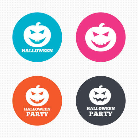 hallows: Circle buttons. Halloween pumpkin icons. Halloween party sign symbol. All Hallows Day celebration. Seamless squares texture. Vector