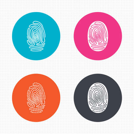 token: Circle buttons. Fingerprint icons. Identification or authentication symbols. Biometric human dabs signs. Seamless squares texture. Vector