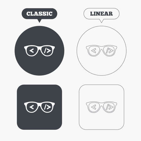 coder: Coder sign icon. Programmer symbol. Glasses icon. Classic and line web buttons. Circles and squares. Vector