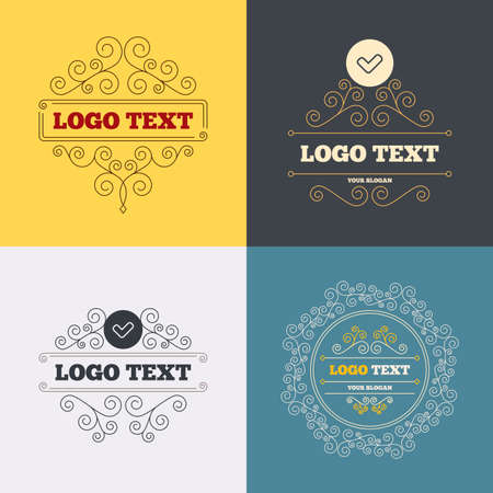 yes button: Vintage flourishes calligraphic. Check sign icon. Yes button. Luxury ornament lines. Vector