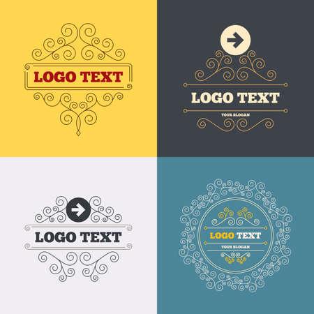 next button: Vintage flourishes calligraphic. Arrow sign icon. Next button. Navigation symbol. Luxury ornament lines. Vector