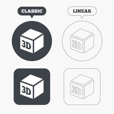additive: 3D Print sign icon. 3d cube Printing symbol. Additive manufacturing. Classic and line web buttons. Circles and squares. Vector