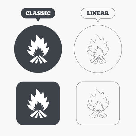 Fire flame sign icon. Heat symbol. Stop fire. Escape from fire. Classic and line web buttons. Circles and squares. Vector