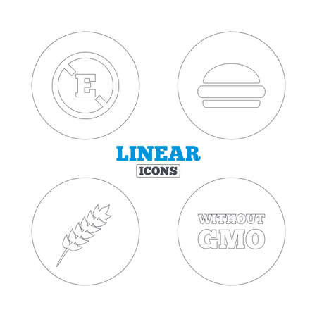 stabilizers: Food additive icon. Hamburger fast food sign. Gluten free and No GMO symbols. Without E acid stabilizers. Linear outline web icons. Vector