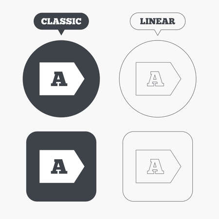 economy class: Energy efficiency class A sign icon. Energy consumption symbol. Classic and line web buttons. Circles and squares. Vector
