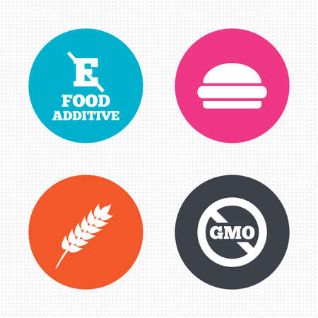 stabilizers: Circle buttons. Food additive icon. Hamburger fast food sign. Gluten free and No GMO symbols. Without E acid stabilizers. Seamless squares texture. Vector Illustration
