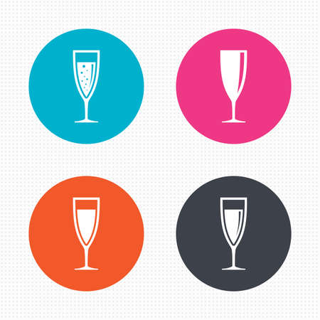 Circle buttons. Champagne wine glasses icons. Alcohol drinks sign symbols. Sparkling wine with bubbles. Seamless squares texture. Vector Illustration