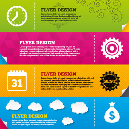 Flyer brochure designs. Business icons. Calendar and mechanical clock signs. Dollar money bag and gear symbols. Frame design templates. Vector Vector