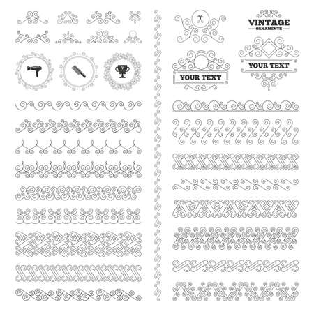 blow drying: Vintage ornaments. Flourishes calligraphic. Hairdresser icons. Scissors cut hair symbol. Comb hair with hairdryer symbol. Barbershop winner award cup. Invitations elements. Vector Illustration