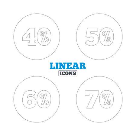 50 60: Iconos Venta de descuento. Signos especiales oferta de precios. 40, 50, 60 y 70 por ciento de descuento s�mbolos de reducci�n. Iconos de la web de contorno lineales. Vector