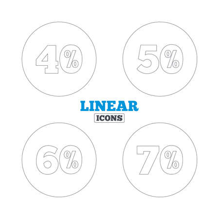 40 50: Sale discount icons. Special offer price signs. 40, 50, 60 and 70 percent off reduction symbols. Linear outline web icons. Vector Illustration