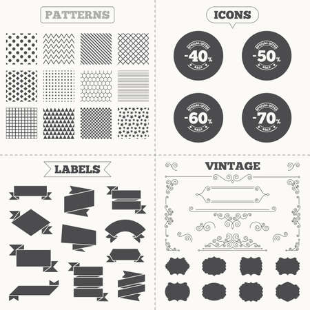 50 to 60: Seamless patterns. Sale tags labels. Sale discount icons. Special offer stamp price signs. 40, 50, 60 and 70 percent off reduction symbols. Vintage decoration. Vector Illustration