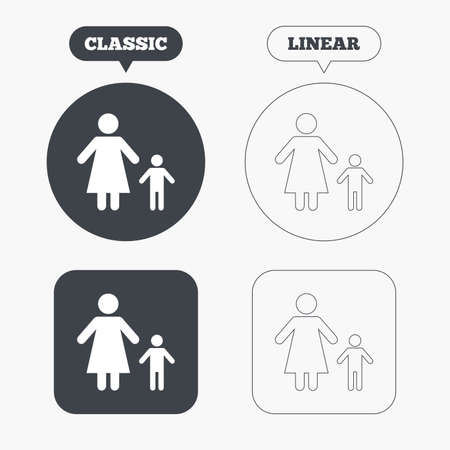 family with one child: One-parent family with one child sign icon. Mother with son symbol. Classic and line web buttons. Circles and squares. Vector