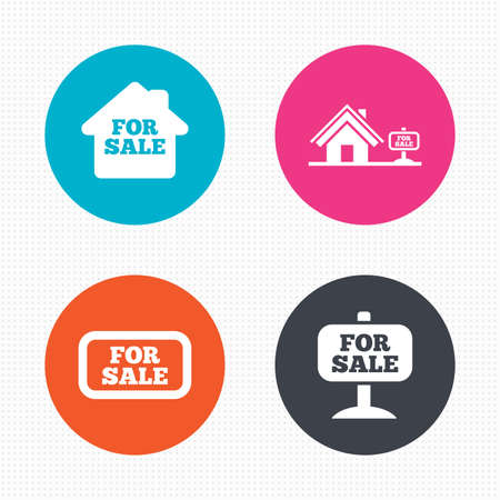 house for sale: Circle buttons. For sale icons. Real estate selling signs. Home house symbol. Seamless squares texture. Vector