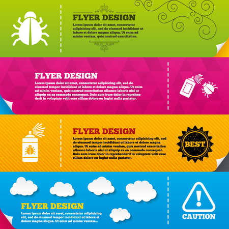 disinfection: Flyer brochure designs. Bug disinfection icons. Caution attention symbol. Insect fumigation spray sign. Frame design templates. Vector