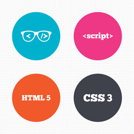 css3: Circle buttons. Programmer coder glasses icon. HTML5 markup language and CSS3 cascading style sheets sign symbols. Seamless squares texture. Vector