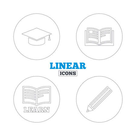 web cap: Pencil and open book icons. Graduation cap symbol. Higher education learn signs. Linear outline web icons. Vector