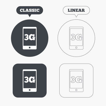 3g: 3G sign icon. Mobile telecommunications technology symbol. Classic and line web buttons. Circles and squares. Vector Illustration