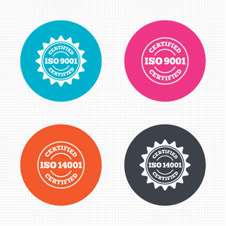 quality: Circle buttons. ISO 9001 and 14001 certified icons. Certification star stamps symbols. Quality standard signs. Seamless squares texture. Vector