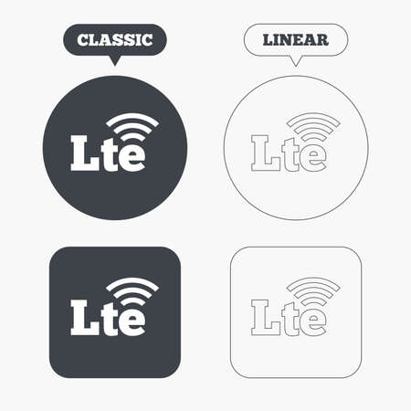 wireless communication: 4G LTE sign icon. Long-Term evolution sign. Wireless communication technology symbol. Classic and line web buttons. Circles and squares. Vector Illustration