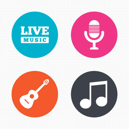 live music: Circle buttons. Musical elements icons. Microphone and Live music symbols. Music note and acoustic guitar signs. Seamless squares texture. Vector