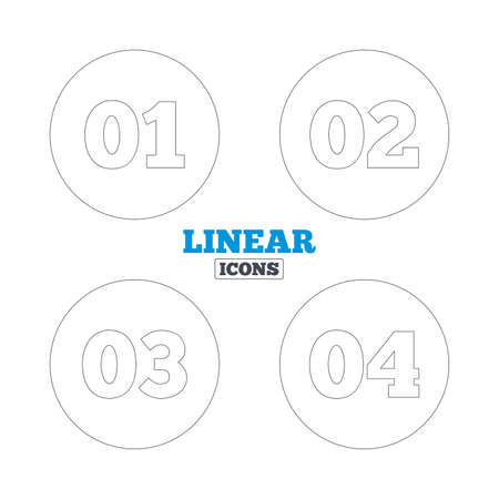 web 2 0: Step one, two, three and four icons. Sequence of options symbols. Loading process signs. Linear outline web icons. Vector Illustration