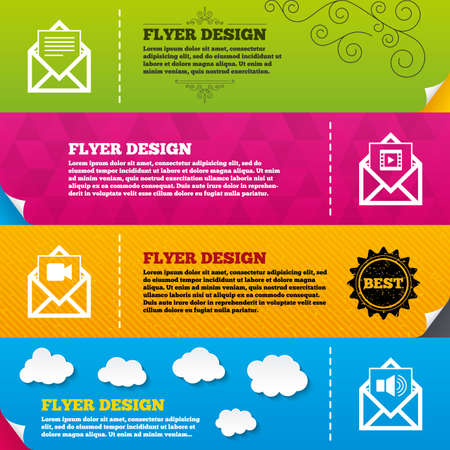 voice mail: Flyer brochure designs. Mail envelope icons. Message document symbols. Video and Audio voice message signs. Frame design templates. Vector