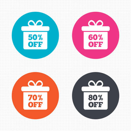 50 60: Circle buttons. Sale gift box tag icons. Discount special offer symbols. 50%, 60%, 70% and 80% percent off signs. Seamless squares texture. Vector Vectores