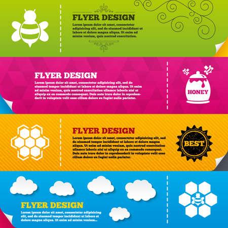 fruttosio: Disegni brochure Flyer. Icona Miele. Celle a nido d'ape con le api simbolo. Dolci segni alimentari naturali. Modelli di design del telaio. Vettore Vettoriali