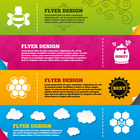 fructose: Flyer brochure designs. Honey icon. Honeycomb cells with bees symbol. Sweet natural food signs. Frame design templates. Vector