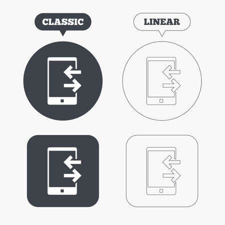 outcoming: Incoming and outcoming calls sign icon. Smartphone symbol. Classic and line web buttons. Circles and squares. Vector