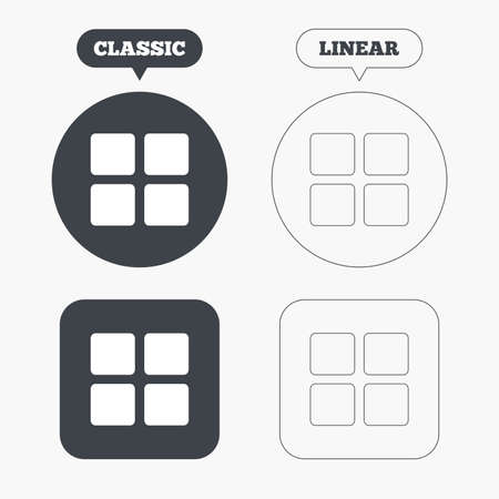 thumbnails: Thumbnails sign icon. Gallery view option symbol. Classic and line web buttons. Circles and squares. Vector