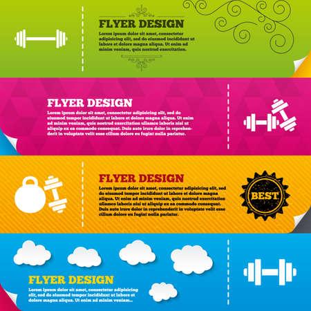 strongman: Flyer brochure designs. Dumbbells sign icons. Fitness sport symbols. Gym workout equipment. Frame design templates. Vector Illustration