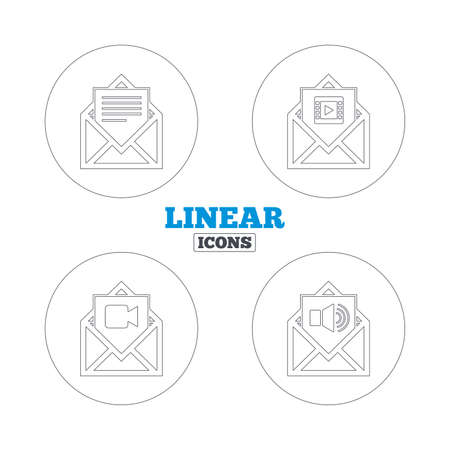 voice mail: Mail envelope icons. Message document symbols. Video and Audio voice message signs. Linear outline web icons. Vector