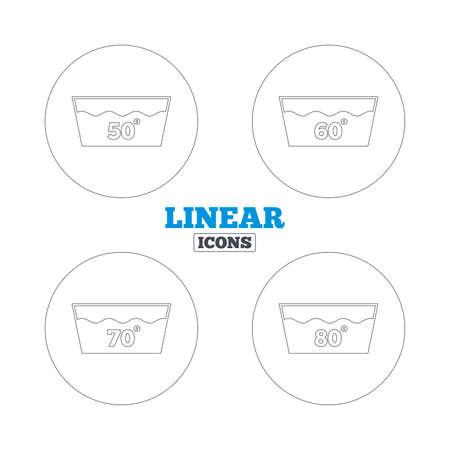 50 60: Iconos de lavado. Lavable a m�quina a 50, 60, 70 y 80 grados s�mbolos. Lavadero con signos de lavander�a. Iconos de la web de contorno lineales. Vector Vectores