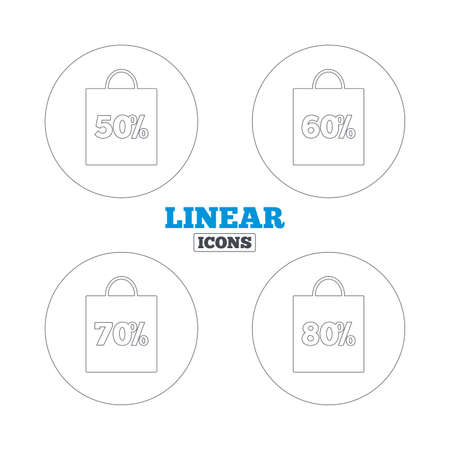 50 to 60: Sale bag tag icons. Discount special offer symbols. 50%, 60%, 70% and 80% percent discount signs. Linear outline web icons. Vector